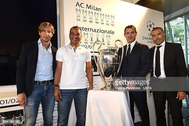 Massimo Ambrosini Cafu Dejan Stankovic an Ivan Ramiro Cordoba pose for a photo during the Festival Gallery prior to the UEFA Champions League Final...