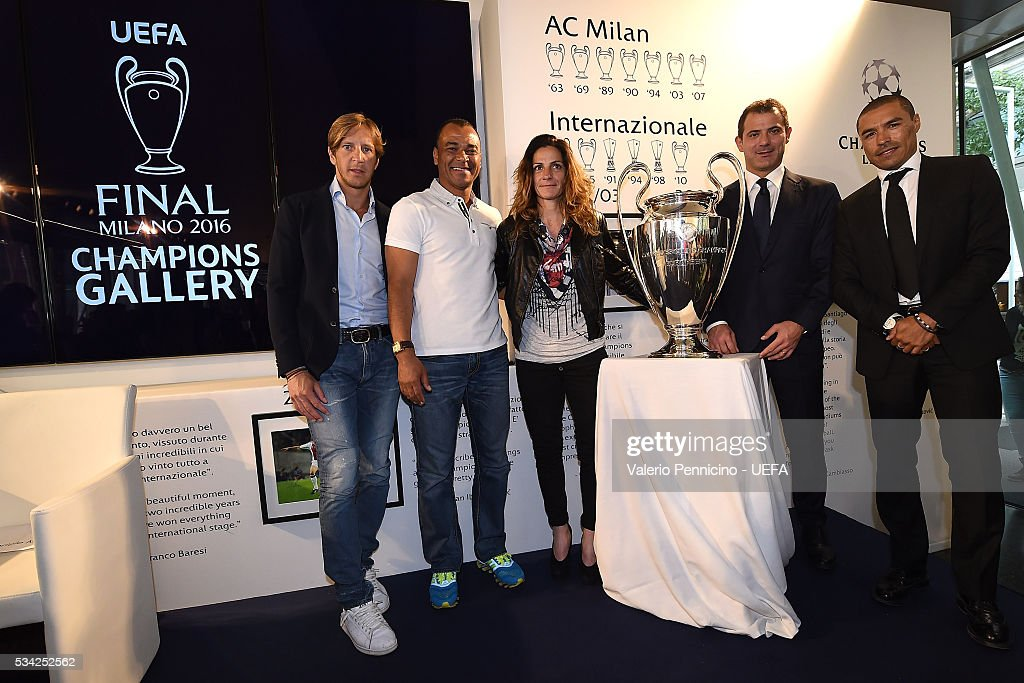 <a gi-track='captionPersonalityLinkClicked' href=/galleries/search?phrase=Massimo+Ambrosini&family=editorial&specificpeople=227979 ng-click='$event.stopPropagation()'>Massimo Ambrosini</a>, Cafu, Patrizia Panico, <a gi-track='captionPersonalityLinkClicked' href=/galleries/search?phrase=Dejan+Stankovic&family=editorial&specificpeople=242949 ng-click='$event.stopPropagation()'>Dejan Stankovic</a> an Ivan Ramiro Cordoba pose for a phot during the Festival Gallery prior to the UEFA Champions League Final at Stadio Giuseppe Meazza on May 25, 2016 in Milan, Italy.