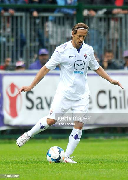 Massimo Ambrosini of AC Fiorentina in action during the preseason friendly match between AC Fiorentina and US Cremonese on July 24 2013 in Moena near...
