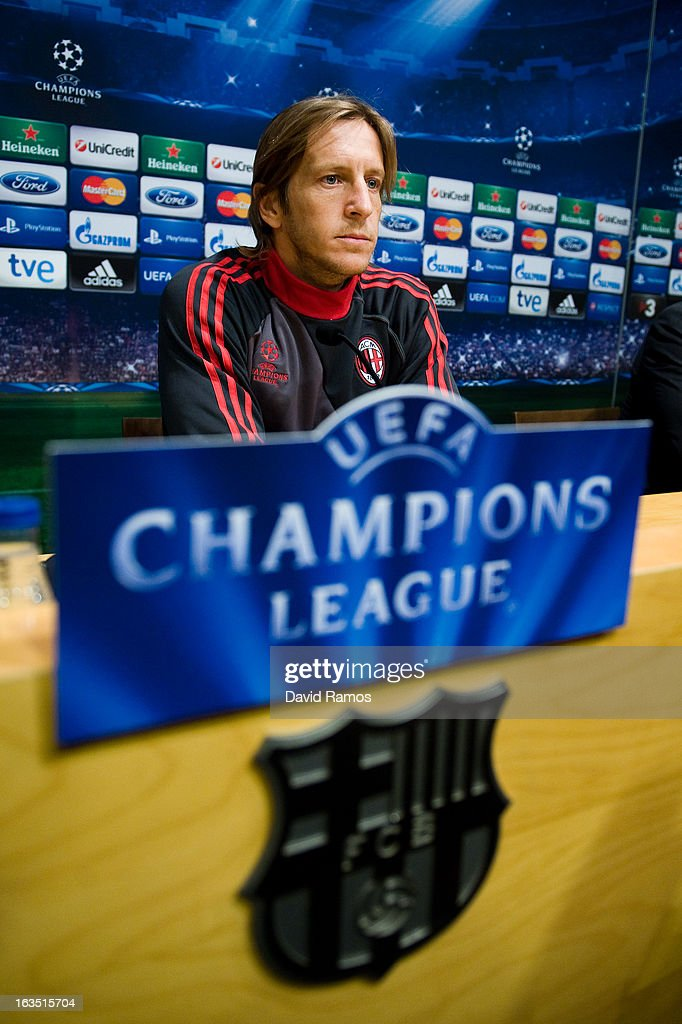 <a gi-track='captionPersonalityLinkClicked' href=/galleries/search?phrase=Massimo+Ambrosini&family=editorial&specificpeople=227979 ng-click='$event.stopPropagation()'>Massimo Ambrosini</a> of AC Milan faces the media during a press conference ahead of their UEFA Champions League round of 16 second leg against FC Barcelona at the Camp Nou Stadium on March 11, 2013 in Barcelona, Spain.