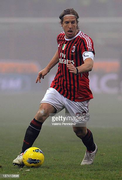 Massimo Ambrosini of AC Milan in action during the TIM Cup match between AC Milan and Novara Calcio at Giuseppe Meazza Stadium on January 18 2012 in...
