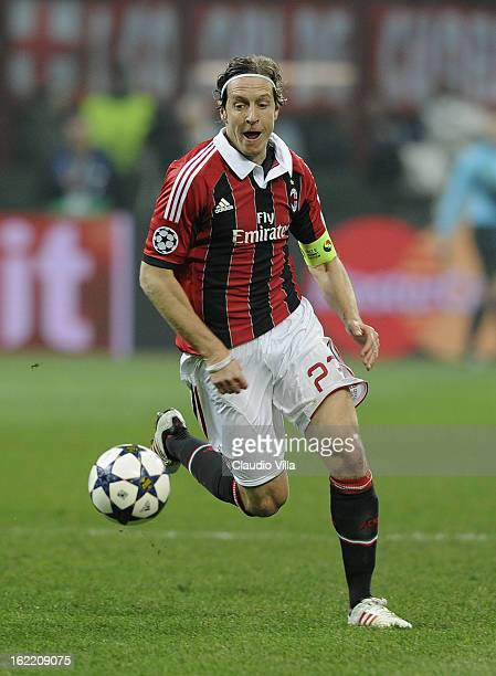 Massimo Ambrosini of AC Milan in action during the UEFA Champions League Round of 16 first leg match between AC Milan and Barcelona at San Siro...