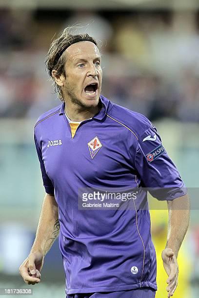 Massimo Ambrosini of ACF Fiorentina reacts during the Uefa Europa League Group E match between ACF Fiorentina and FC Pacos de Ferreira at Stadio...