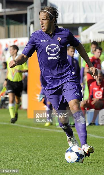 Massimo Ambrosini of ACF Fiorentina runs with the ball during the preseason friendly match between AC Fiorentina and Team Trentino on July 20 2013 in...