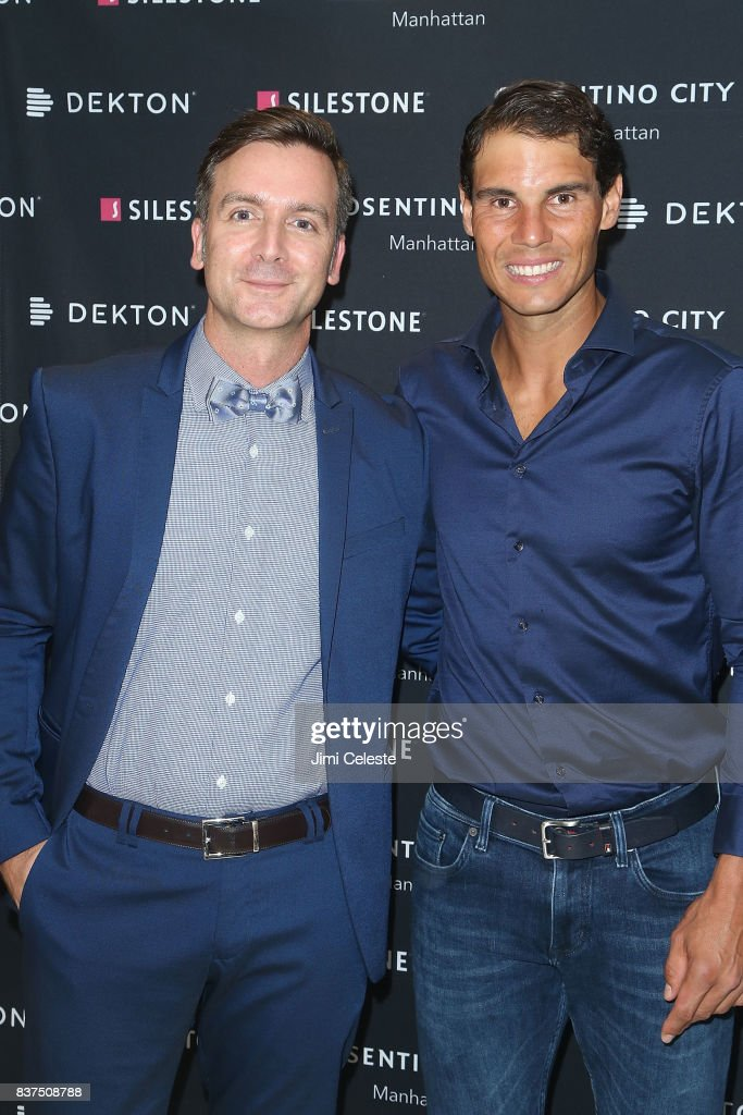 Massimo Ballucchi and Rafael Nadal attends an exclusive cocktail event with Cosentino at Cosentino City Manhattan on August 22, 2017 in New York City.