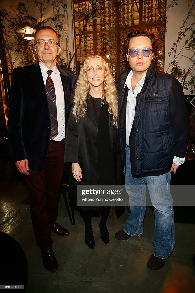 Massimo Borio, <a gi-track='captionPersonalityLinkClicked' href=/galleries/search?phrase=Franca+Sozzani&family=editorial&specificpeople=639425 ng-click='$event.stopPropagation()'>Franca Sozzani</a> and Emanuele Della Valle attend Citroen DS Sofa and DS3 Cabrio L'Uomo Vogue Limited Edition cocktail at Corso Como 10 on April 9, 2013 in Milan, Italy.