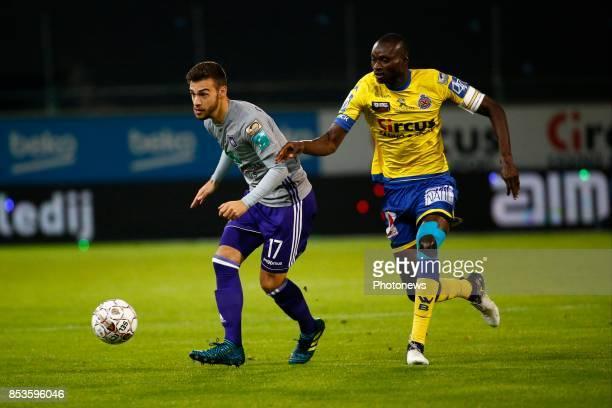 Massimo Bruno midfielder of RSC Anderlecht and Ibrahima Seck midfielder of Beveren pictured during the Jupiler Pro League match between...