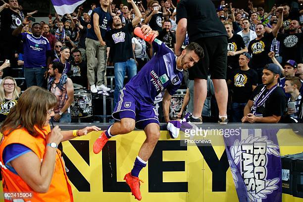 Massimo Bruno midfielder of RSC Anderlecht celebrates pictured during Jupiler Pro League match between RSC Anderlecht and Sporting Charleroi on...
