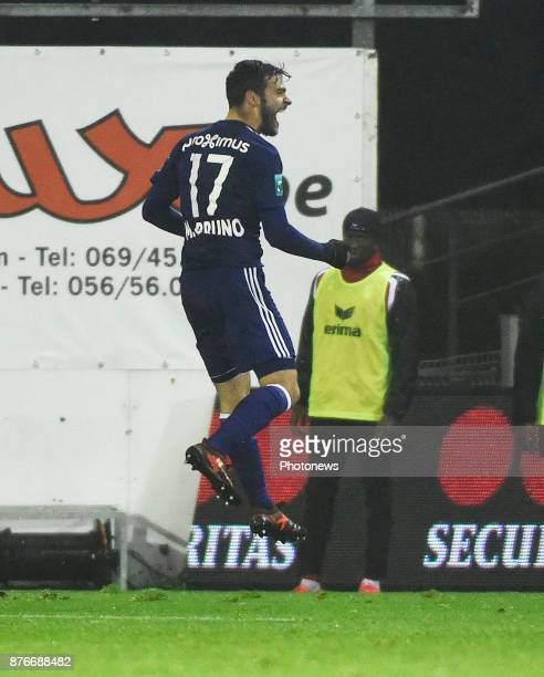Massimo Bruno midfielder of RSC Anderlecht celebrates scoring a goal during the Jupiler Pro League match between Royal Excel Mouscron and RSC...