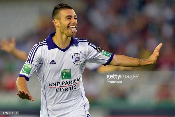Massimo Bruno of RSC Anderlecht celebrates scoring a goal during the Jupiler Pro League match between Cercle Brugge and RSC Anderlecht on August 2...