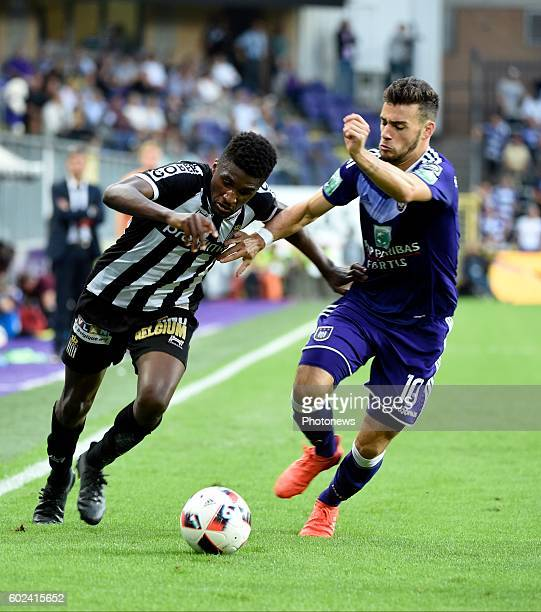Massimo Bruno of RSCA and Amara Baby midfielder of Sporting Charleroi pictured during Jupiler Pro League match between RSC Anderlecht and RCS...