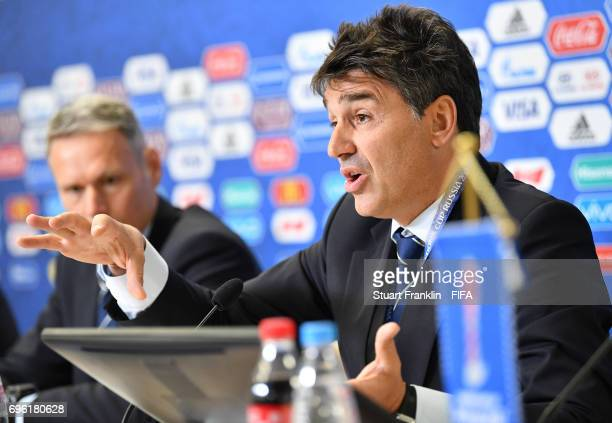 Massimo Busacca FIFA head of refereeing talks with the media during a press conference about refereeing and new rules in football at the Zenit Arena...