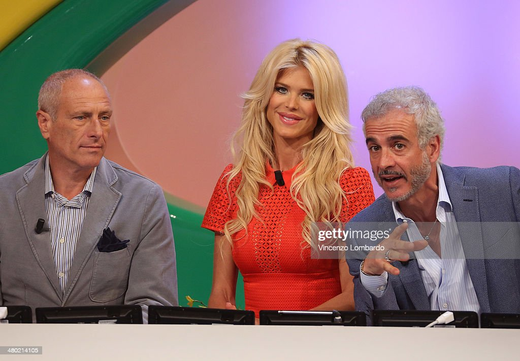 Massimo Caputi, <a gi-track='captionPersonalityLinkClicked' href=/galleries/search?phrase=Victoria+Silvstedt&family=editorial&specificpeople=202866 ng-click='$event.stopPropagation()'>Victoria Silvstedt</a> and Daniele Tombolini attend the 'Quelli Che Il Calcio' TV Show on March 23, 2014 in Milan, Italy.