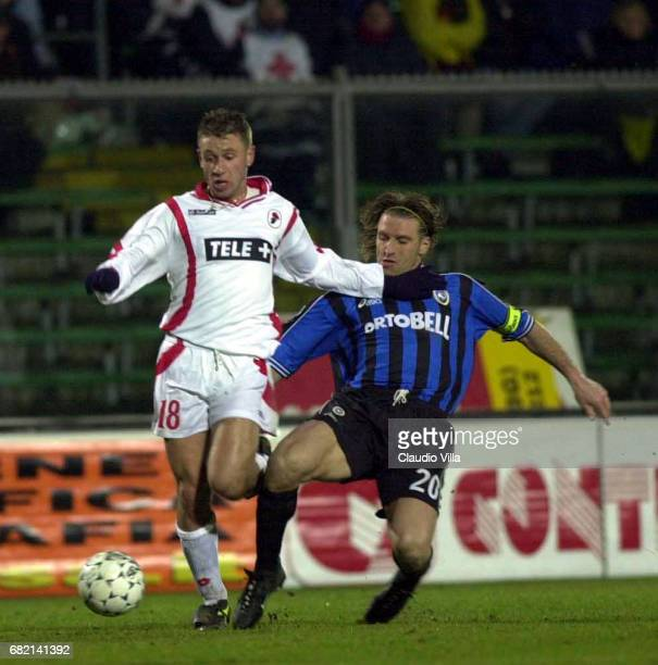 Massimo Carrera of Atalanta and Antonio Cassano of Bari during a SERIE A 20th Round League match between Atalanta and Bari played at the Azzurri...