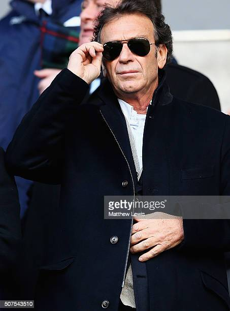 Massimo Cellino owner of Leeds United looks on during The Emirates FA Cup Fourth Round match between Bolton Wanderers and Leeds United at Macron...