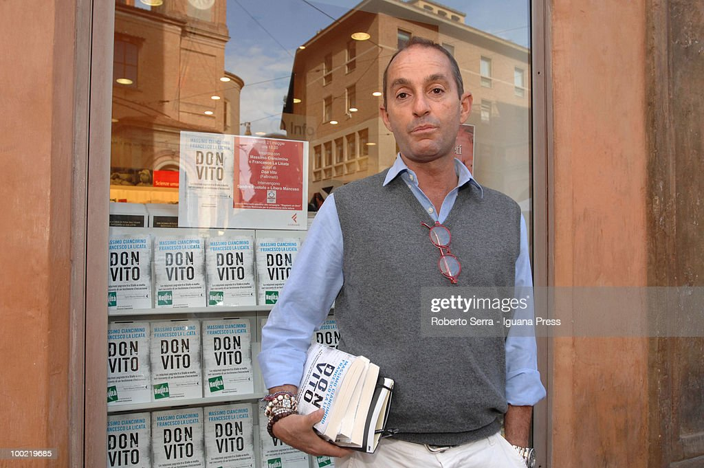 Massimo Cincimino (left), son of Vito Ciancimino who was mayor of Palermo connected with mafia, presents his book 'Don Vito' about his father, at Feltrinelli bookstore on May 21, 2010 in Bologna, Italy.