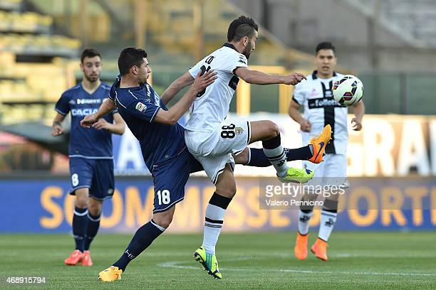 Massimo Coda of Parma FC is challenged by Igor Bubnjic of Udinese Calcio during the Serie A match between Parma FC and Udinese Calcio at Stadio Ennio...