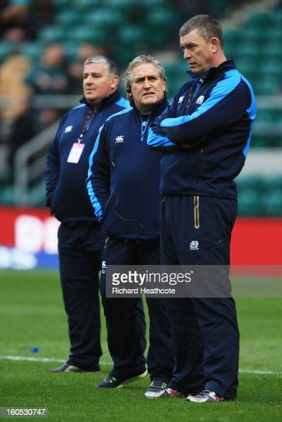 Massimo Cuttitta the Scotland scrum coachScott Johnson the Scotland interim head and Dean Ryan the Scotland interim forwards coach look on prior to...