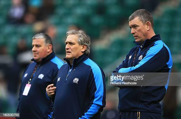 Massimo Cuttitta the Scotland scrum coachScott Johnson the Scotland interim head and Dean Ryan the Scotland interim forwards coach look on prior to...