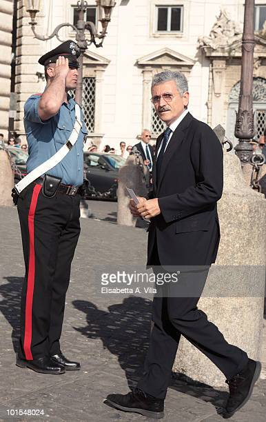 Massimo D'Alema arrives at the Quirinale Palace to attend a Gala Dinner hosted by Italy's President Giorgio Napolitano on June 1 2010 in Rome Italy