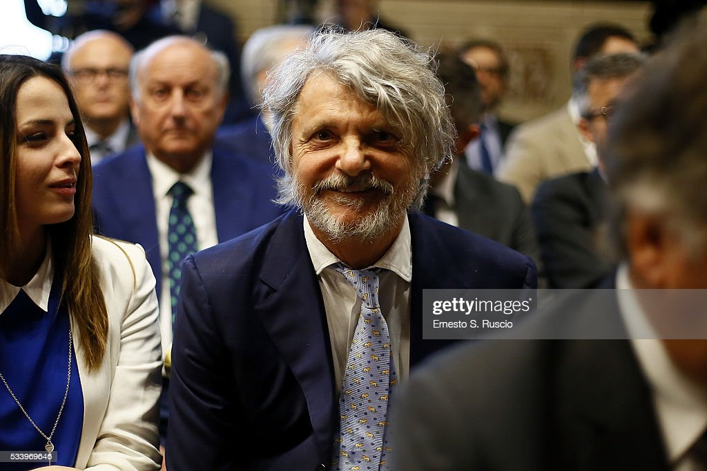 <a gi-track='captionPersonalityLinkClicked' href=/galleries/search?phrase=Massimo+Ferrero&family=editorial&specificpeople=6254493 ng-click='$event.stopPropagation()'>Massimo Ferrero</a> attends the Italian Football Federation Annual Report at Palazzo Montecitorio on May 24, 2016 in Rome, Italy.