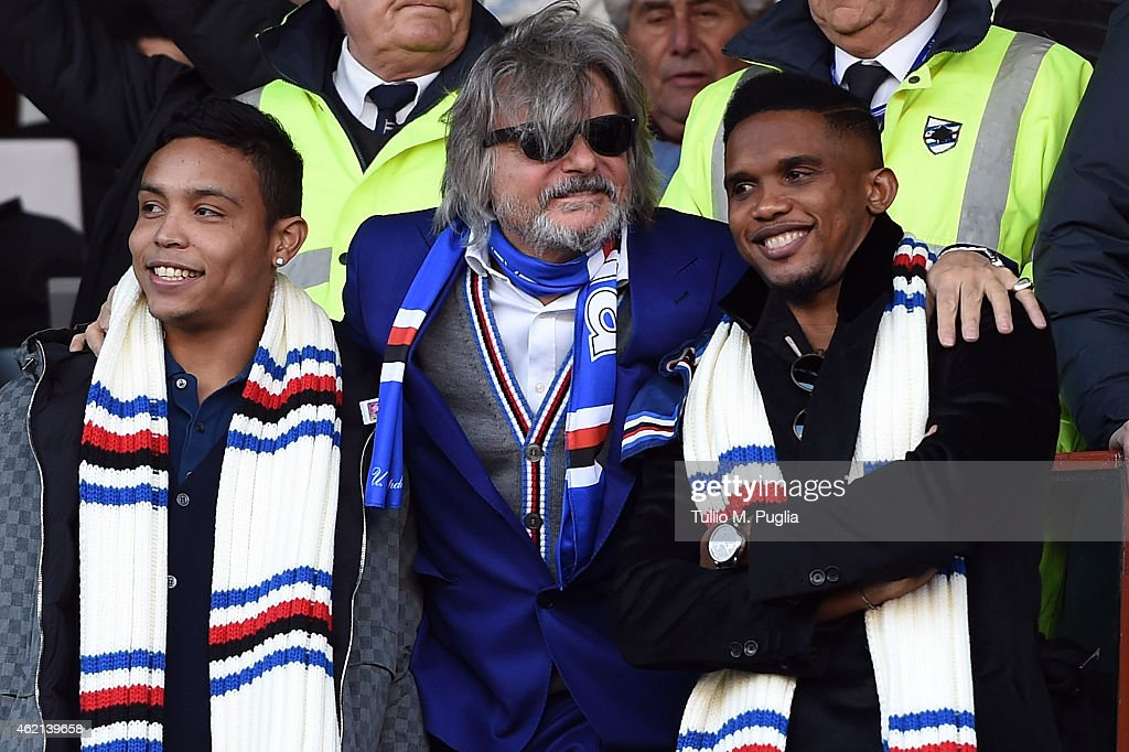 Massimo Ferrero President of Sampdoria poses with Luis Muriel and Samuel Eto'o during the Serie A match between UC Sampdoria and US Citta di Palermo...