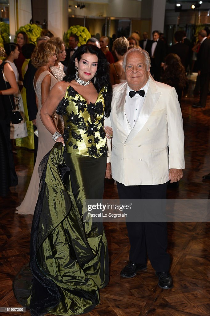 Massimo Gargia (R) and Lamia Khashoggi attend the Monaco Red Cross Gala on July 25, 2015 in Monte-Carlo, Monaco.