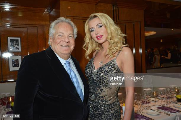 Massimo Gargia and Valeria Marini attend the Penati Al Baretto Restaurant Opening Dinner at the Hotel de Vigny on April 2 2014 in Paris France