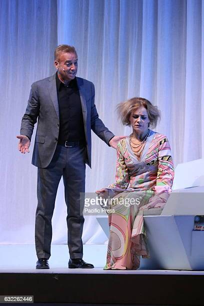 Massimo Ghini and Galatea Ranzi at the Teatro Augusteo in Naples during a performance of the comedy 'Unora di tranquillità' by Florian Zeller a...