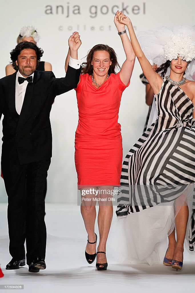 Massimo Giordano, Anja Gockell and models walk the runway at after the Anja Gockel show during Mercedes-Benz Fashion Week Spring/Summer 2014 at Brandenburg Gate on July 3, 2013 in Berlin, Germany.