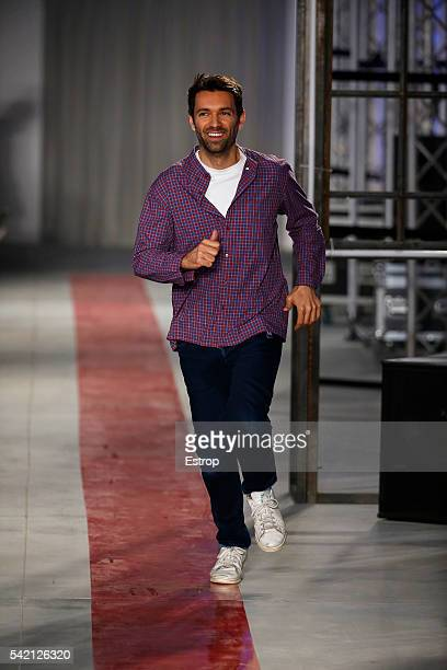 Massimo Giorgetti walks the runway at the MSGM show designed by Massimo Giorgetti during Milan Men's Fashion Week SS17 on June 20 2016 in Milan Italy