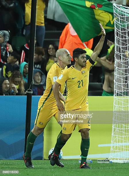 Massimo Luongo of Australia celebrates after scoring a goal during the 2018 FIFA World Cup Qualifier match between the Australian Socceroos and Iraq...
