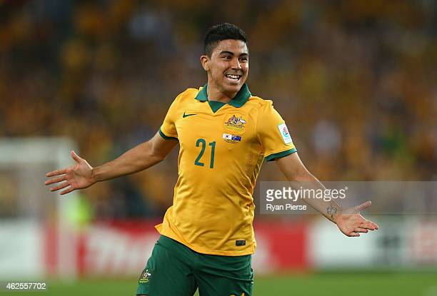 Massimo Luongo of Australia celebrates after scoring his teams first goal during the 2015 Asian Cup final match between Korea Republic and the...