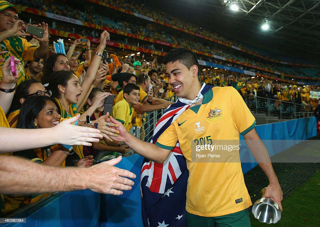Massimo Luongo of Australia celebrates after the 2015 Asian Cup final match between Korea Republic and the Australian Socceroos at ANZ Stadium on January 31, 2015 in Sydney, Australia.