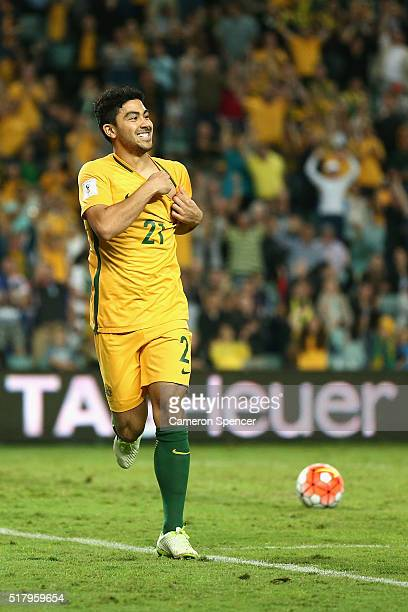 Massimo Luongo of Australia celebrates scoring a goal during the 2018 FIFA World Cup Qualification match between the Australian Socceroos and Jordan...