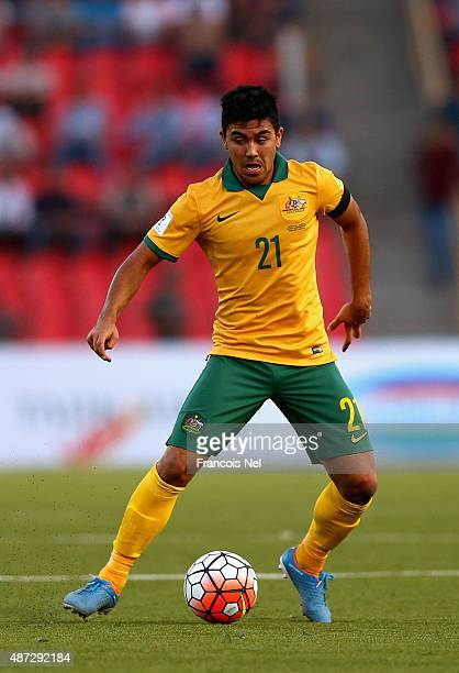 Massimo Luongo of Australia controls the ball during the 2018 FIFA World Cup Qualifier match between the Australian Socceroos and Tajikistan at...