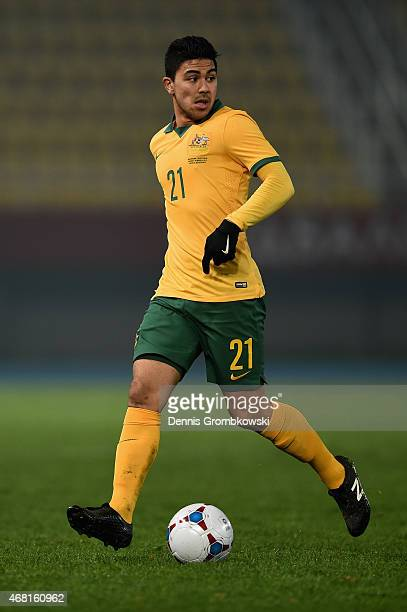 Massimo Luongo of Australia controls the ball during the International Friendly match between Macedonia and Australia on March 30 2015 in Skopje...