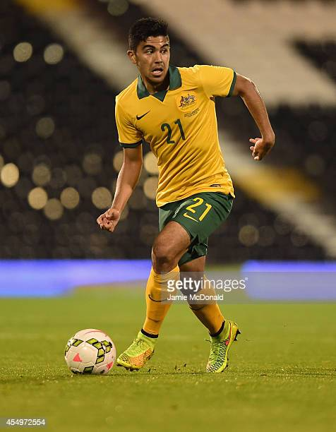 Massimo Luongo of Australia in action during the International Friendly match between Saudi Arabia and Australia at Craven Cottage on September 8...