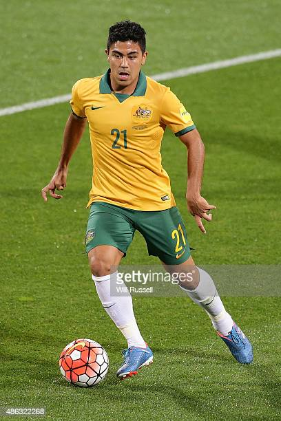 Massimo Luongo of Australia looks to pass the ball during the 2018 FIFA World Cup Qualification match between the Australian Socceroos and Bangladesh...
