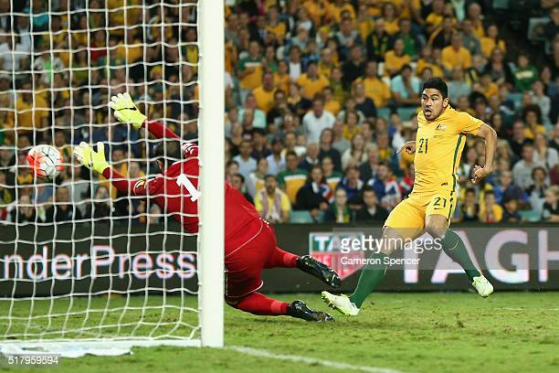 Massimo Luongo of Australia scores a goal during the 2018 FIFA World Cup Qualification match between the Australian Socceroos and Jordan at Allianz...