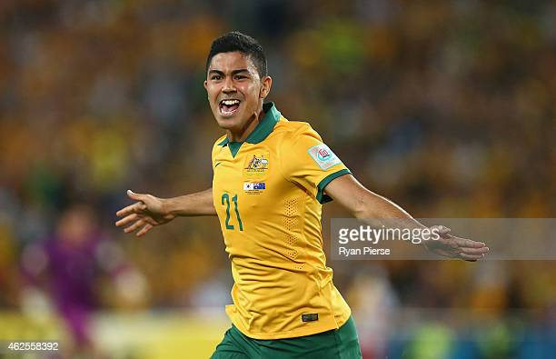Massimo Luongo of Australia scores his teams first goal during the 2015 Asian Cup final match between Korea Republic and the Australian Socceroos at...