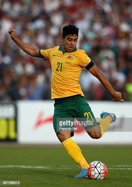 Massimo Luongo of Australia takes a shot at goal during the 2018 FIFA World Cup Qualifier match between the Australian Socceroos and Tajikistan at...