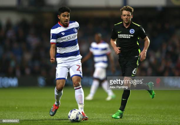 Massimo Luongo of QPR in action during the Sky Bet Championship match between Queens Park Rangers and Brighton Hove Albion at Loftus Road on April 7...