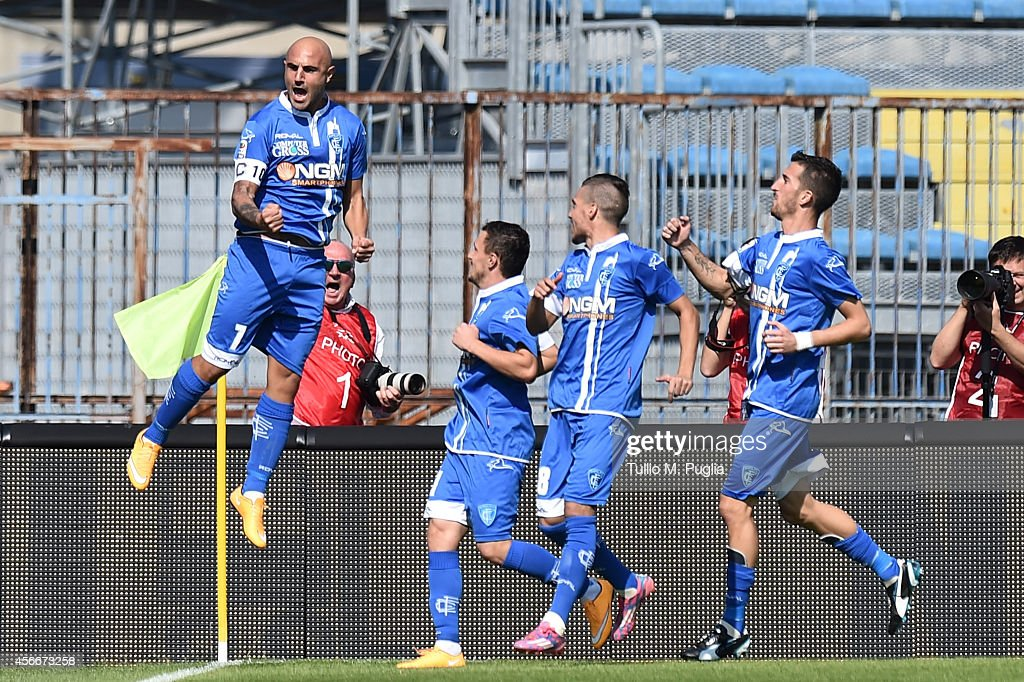 Massimo Maccarone of Empoli celebrates after scoring the opening goal during the Serie A match between Empoli FC and US Citta di Palermo at Stadio...