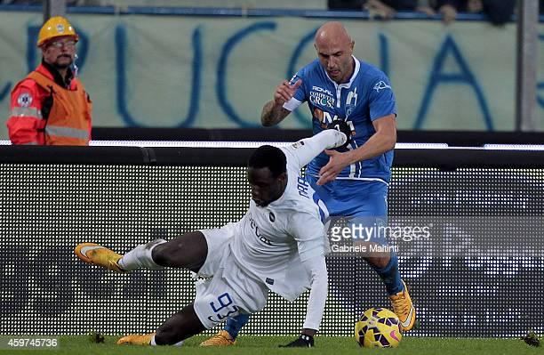 Massimo Maccarone of Empoli FC battles for the ball with Drame Boukary of Atalanta BC during the Serie A match between Empoli FC and Atalanta BC at...