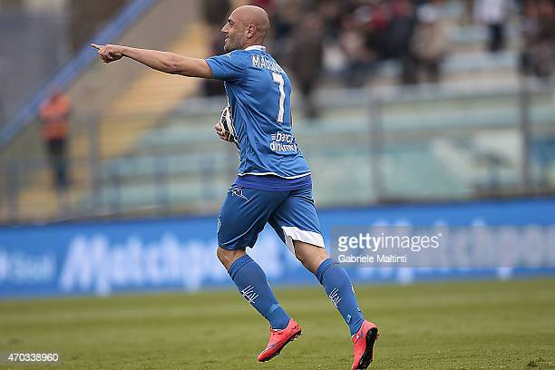 Massimo Maccarone of Empoli FC celebrates after scoring a goal during the Serie A match between Empoli FC and Parma FC at Stadio Carlo Castellani on...