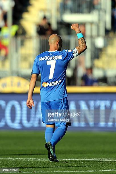 Massimo Maccarone of Empoli FC celebrates after scoring a goal during the Serie A match between Empoli FC and Juventus FC at Stadio Carlo Castellani...