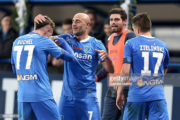 Massimo Maccarone of Empoli FC celebrates after scoring a goal during the Serie A match betweeen Empoli FC and Carpi FC at Stadio Carlo Castellani on...
