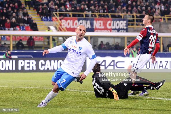 Massimo Maccarone of Empoli FC celebrates after scoring his team's second goal during the Serie A match between Bologna FC and Empoli FC at Stadio...