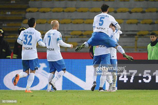Massimo Maccarone of Empoli FC celebrates after scoring his team's third goal during the Serie A match between Bologna FC and Empoli FC at Stadio...